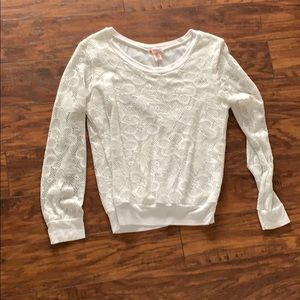 White Long Sleeve Sweater with Knit Flowers